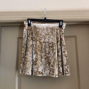 Gold velvet flare skirt